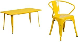 Flash Furniture 31.5'' x 63'' Rectangular Yellow Metal Indoor-Outdoor Table Set with 6 Arm Chairs