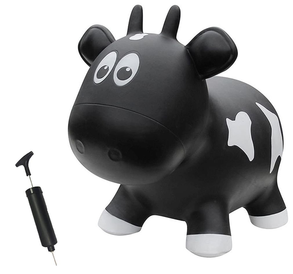 Farm Hoppers Award Winning Inflatable Bouncing Black Cow with Pump