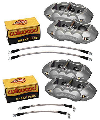 WILWOOD CLEAR ANODIZED BRAKE CALIPER, PAD, LINE KIT, 6 PISTON FRONT & 4 PISTON REAR,COMPATIBLE WITH 65-82 CHEVY CORVETTE C2,C3,CHEVROLET