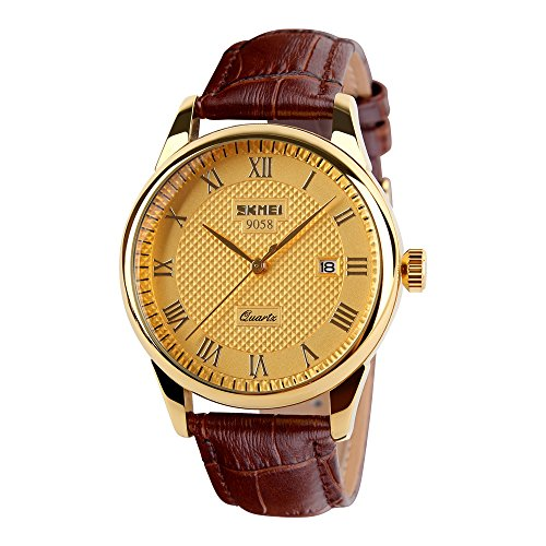 VBBARC Casual Classic Quartz Analog Wrist Business Watch With 40mm Case Brown Leather Band (Gold)