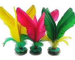 Ajusen 10 Pcs Colorful Feather Kick Shuttlecock Chinese Jianzi Sport, Random Color