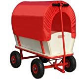 Wagon Cart Kids Festival Garden Trolley Toys Games Red Pull Along Truck with Roof Heavy Duty Trailer