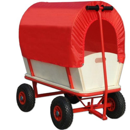 Bollerwagen mit Schutzdach sind ideal bei regnerischen Wetter. Denn durch das Dach wird z.B. das Proviant vor Nässe geschützt.