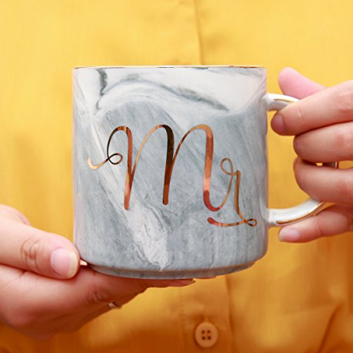 Luspan Mr and Mrs Couples Coffee Mugs - Unique Wedding Gift for Bride and Groom - Gift for Bridal Shower Engagement Wedding and Married Couples - Ceramic Marble Cups 13 oz(Grey and Pink) by Luspan (Image #3)