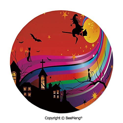Diameter31 inch,Printing Round Rug,Dragonfly,Mat Non-Slip Soft Entrance Mat Door Floor Rug Area Rug for Chair Living Room,,Halloween,Witch Woman on Broomstick Bats Cat Stars Rainbow Moon Castle Abstra