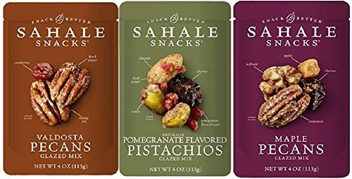 Sahale Snacks Glazed Nut Blends 3 Flavor Variety Bundle: (1) Sahale Snacks Maple Pecans With Walnuts, Cherries & Cinnamon, (1) Sahale Snacks Valdosta Pecans With Sweet Cranberries, Black Pepper & Orange Zest, and (1) Sahale Snacks Pomegranate Pistachios With Almonds, Cherries & Black Pepper, 4.0 Oz. Ea.
