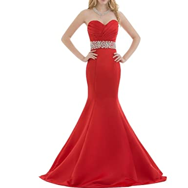 Kivary Red Satin Mermaid Crystals Sweetheart Long Formal Prom Evening Dresses US 2