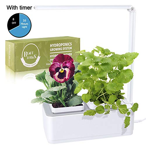 Indoor Herb Garden, BEAUTLOHAS. Hydroponics Growing System with Timer Function & 2 Self-Watering Garden Pots, LED Grow Light for Flower/Fruit/Vegetable, Smart Garden Kit for Home/Room/Kitchen/Office (Best Plants For Home Vegetable Garden)