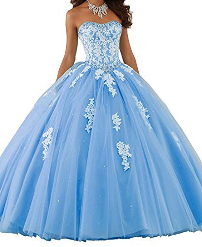Beilite Women's Sweetheart Prom Long Dresses Quinceanera Gown with Crystal Sequins Sky Blue 4