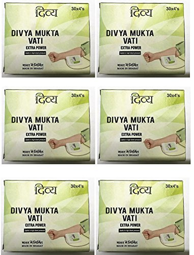 (Patanjali 6 x Ramdev Divya Herbal Ayurvedic Mukta Vati (For High Blood Pressure)- Pack of 6(720 tablets))