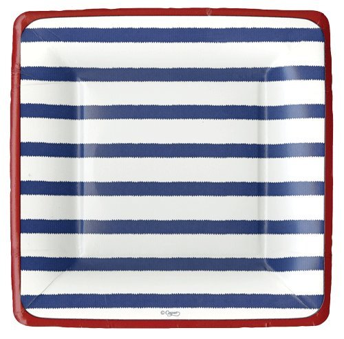 4th of July Party Supplies Paper Plates Salad Desert Size Bretagne Blue 16 Count 7 inch Square -