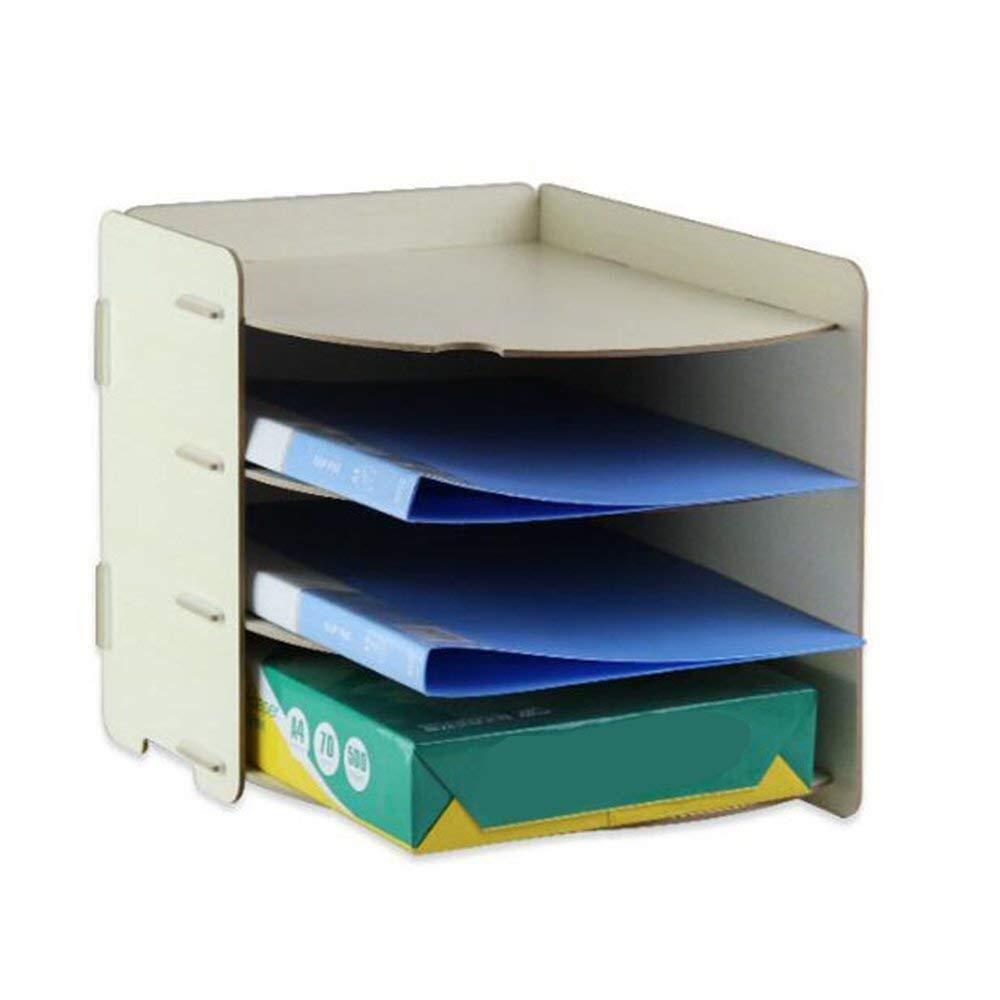 Sunny A4 Frame Paper Frame,Office File Organizer Desktop File Frame Multilayer Wooden Frame for Creative Magazine Storage (Color : Beige) by Sunny