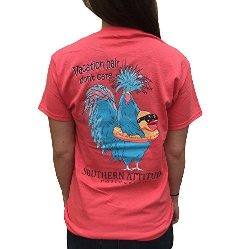 (Southern Attitude Chicken in Duck Floatie Coral Women's T-Shirt (X-Large))