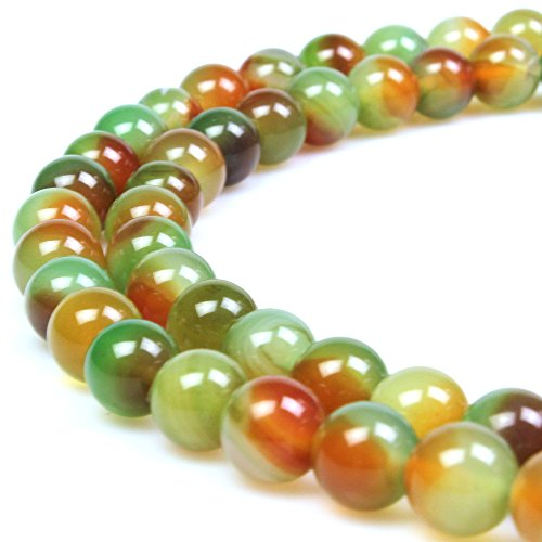 Multi Necklace Natural Jade Color - JARTC Natural Stone Beads Peacock Agate Round Loose Beads for DIY Necklace Bracelat Charms Jewelry Making (14mm)