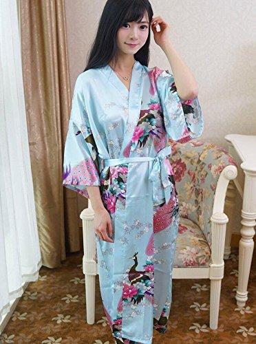 LJ&L Sra. Nacionales viento pijama de seda albornoz verano larga sección de vestido de gasa de seda,Light blue,All code Light Blue