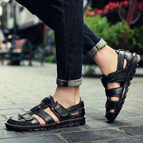 Yaer Hombres Sandalias de Cuero Zapatos de Playa Para los Hombres Con Velcro Zapatos de Verano Tamaño EU38-EU44(2 color) negro