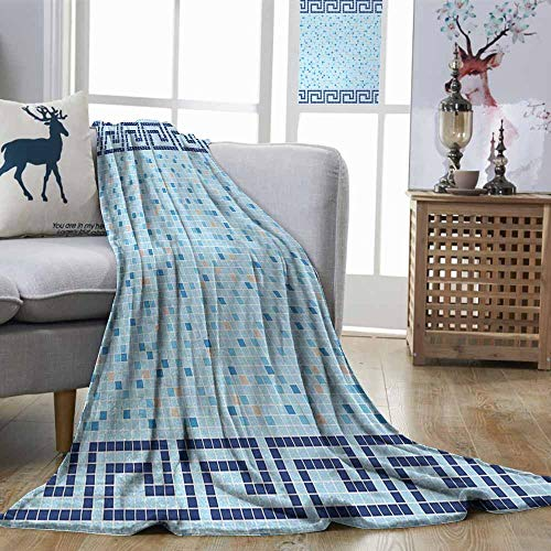 Greek Afghan Throw Blanket - Decorative Throw Blanket Aqua Antique Greek Border Mosaic Tile Squares Abstract Swimming Pool Design Pale Blue Navy Blue Beige Sofa Chair W70 xL93