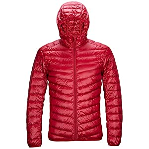 Mens Packable Hooded Down Jacket Lightweight Water Repellent Outwear Puffer Coat SWISSWELL