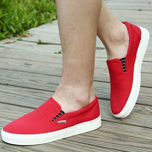 Bajos Rojo Zapatos En Pisos Hombres Deslizamiento Lona De Barco Casual Los H7W8qvwRW