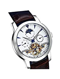 Mastop Men's Leather Tourbillon Automatic Self-wind Mechanical Moon Phase Watches Waterproof