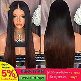 Ombre Color Human Hair Straight 100% Real Hair Brazilian Hair Glueless Lace Front Wig Full Lace Wig Remy Virgin Hair With Baby Hair (18 Inch,lace front wig)