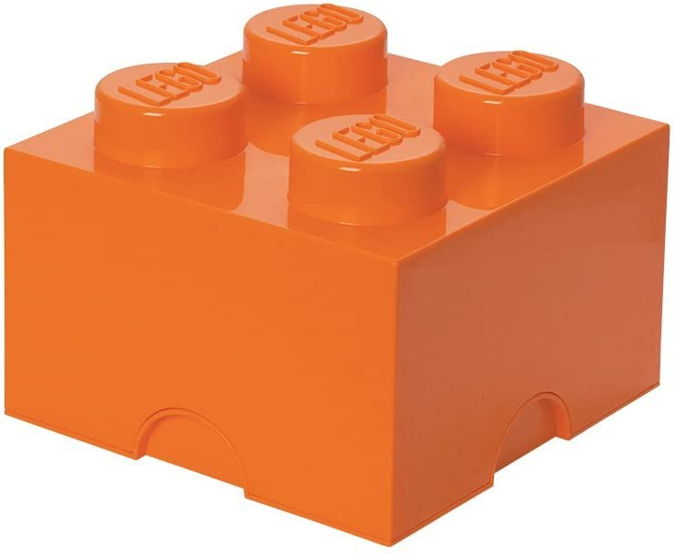 LEGO Storage Brick 4 – Stackable, Large Capacity Organizer for LEGO Building Blocks, Minifigures, and Other Toys |Space Saving Container - For Ages 3+, 4 – Stud, Bright Orange