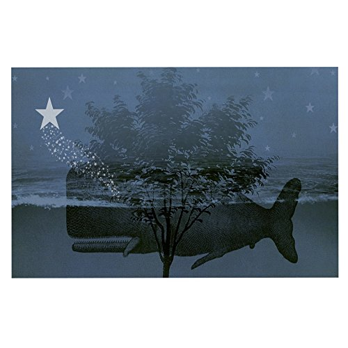 KESS InHouse Suzanne Carter Whale watch  bluee Illustration Dog Place Mat, 13  x 18