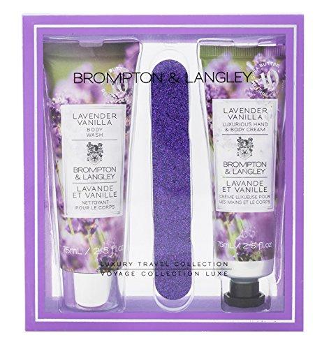 Brompton & Langley Moisturizing Luxury Body Wash, Hand Cream & Nail File Travel Size Set, Lavender Vanilla