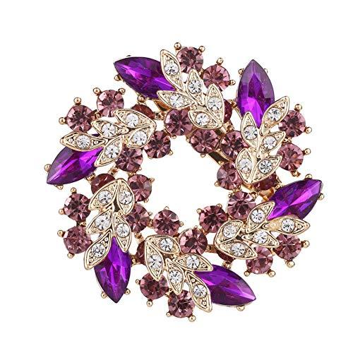 Chili Jewelry Purple Rhinestone Bridal Wedding Bouquet Flower Brooches Floral Wreath Brooch Pins for Women Girls ()