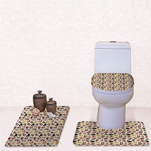 Comfort Flannel 3 Pcs Bath Rug Set,Contour Mat Toilet Seat Cover,Collection of Friendly African Jungle Animals Happy Mammals Life in Forest Decorative with Multicolor,Decorate Bathroom,Entrance Door, ()