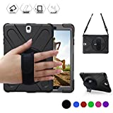 BRAECN Galaxy Tab S2 8.0 Case,[Heavy Duty] Full-Body Rugged Protective Case with a 360 Degree Swivel Kickstand/a Hand Strap/a Shoulder Strap for Samsung Tab S2 8.0 inch(SM-T710 T715 T713) (Black)
