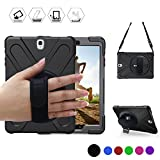 BRAECN Galaxy Tab S2 8.0 Case,[Heavy Duty]Full-body Rugged Protective Case with a 360 Degree Swivel KickStand/a Hand Strap/a Shoulder Strap for Samsung Tab S2 8.0 inch(SM-T710 T715 T713) (Black)
