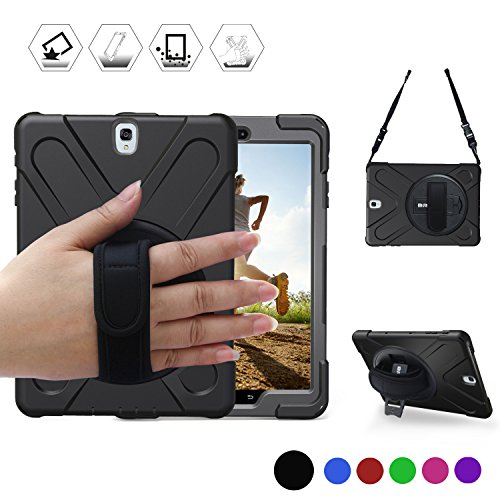 y Tab S3 9.7 Case (SM-T820) Heavy Duty Shockproof Rugged Armor Three Layer Hard PC+Silicone Hybrid Impact Resistant Defender Full Body Protective Case with a Hand Strap (Black) ()