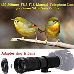 Description:This 420-800mm f/8.3-16 Super Telephoto Zoom Lens incorporates not only computer optical design, but also the latest optical multi-coating techniques.The process of multi-coating assuresvirtually flare free photographs even under ...
