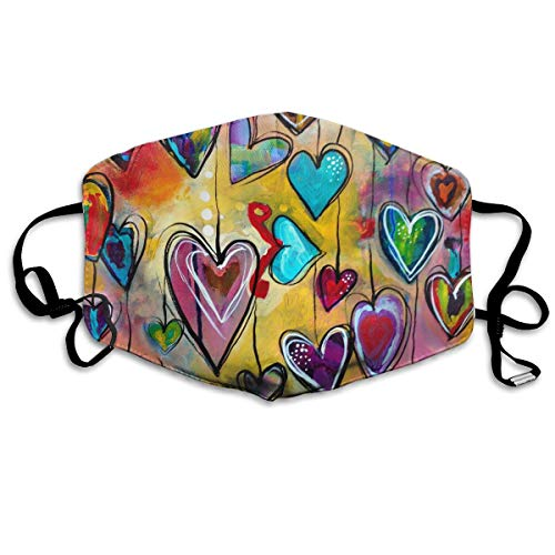 Women & Men Earloop Half Face Face Mask Mouth Masks Dustproof Respirator - Premium Windproof Outdoor Mouth Mask for Kids Youth Boys Girls (Colorful Love Heart) -