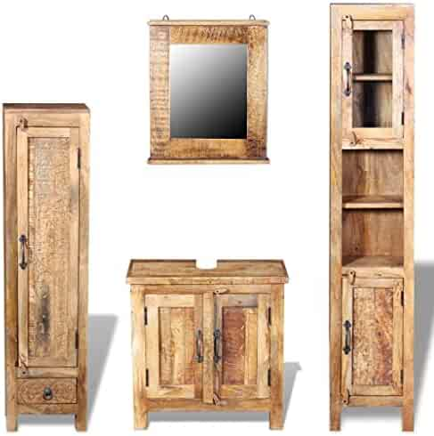 cc4f1f965ac vidaXL Solid Mango Wood Vanity Cabinet Set Mirror Storage Bathroom Furniture