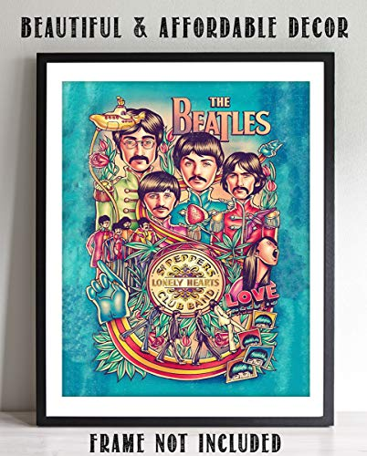 The Beatles- Music Poster PrintSgt. Peppers Lonely Hearts Club Band- 8 x 10 Wall Print- Ready To Frame- Vintage Song Poster. Home Decor-Studio-Bar-Dorm-Man Cave Decor. Perfect For All Beatles Fans.