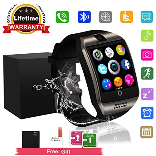 Bluetooth Smart Watch Touchscreen with Camera,Unlocked Watch Cell Phone with Sim Card Slot,Smart Wrist Watch,Waterproof Smartwatch Phone for Android Samsung IOS Iphone 7 6S Men Women (Touch Screen Cellular Phone)