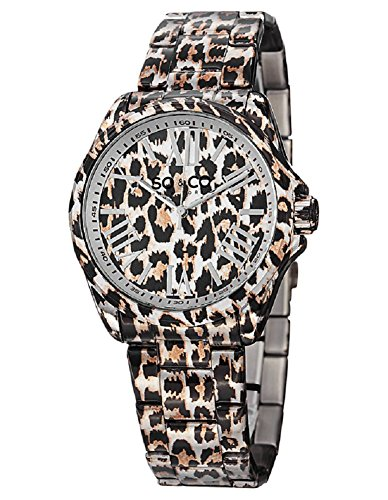 - SO&CO New York Women's 5008.1 SoHo Quartz Animal-Print Stainless Steel Watch with Link Bracelet