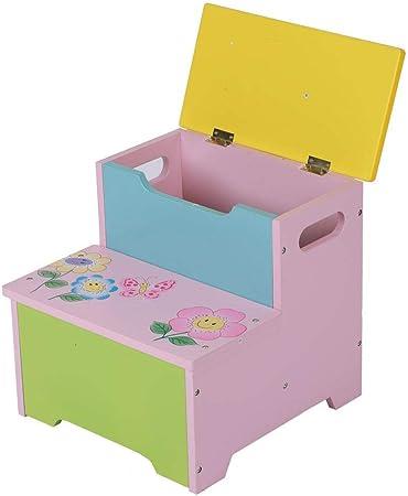 lyrlody Caja Juguetes y Banco para Niños, Baúl de Almacenaje para Juguetes con Asiento + Banco