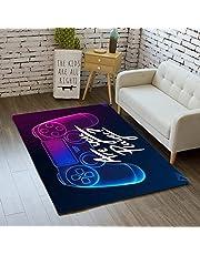Sticker Superb. Tapijt Slaapkamer 3D Moderne Gamepad Gamer Tiener Kind Jongen Woonkamer Tapijt Antislip Graffiti Game Console Decoratie Tapijt Actieknop Flanel Zachte Tapijten (Paars,120x160 cm)