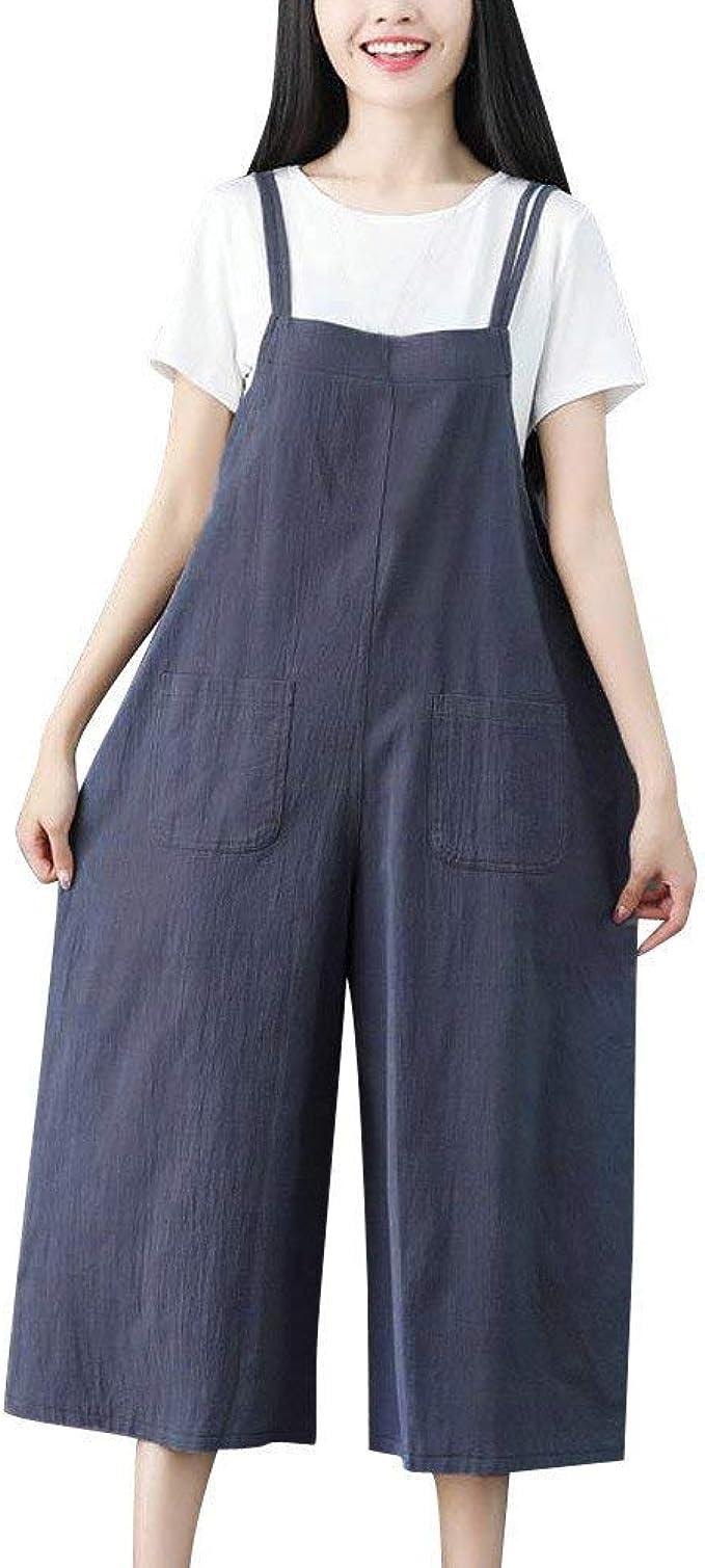 Donna Salopette Jeans Lunga Casual Pantaloni Morbuy Nuovo Moda Cotone Senza Maniche Harem Jumpsuit Ragazza Overall Hippie Sciolto Cinturino Tuta con Tasche
