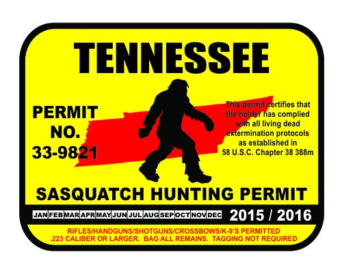 Tennessee sasquatch hunting permit license bigfoot vinyl for New york state fishing license online