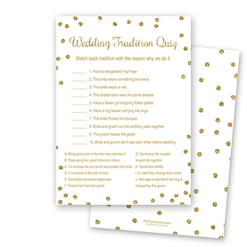 (24 Cnt Gold Glitter Wedding Tradition Quiz Cards (White))