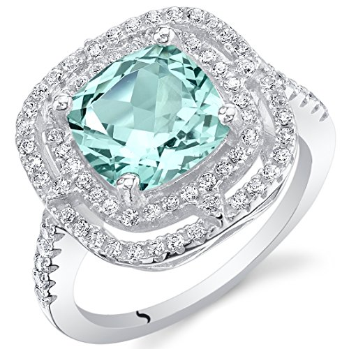Bling Rings Wholesale (Simulated Paraiba Tourmaline Sterling Silver Double Halo)