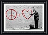 Alonline Art Peace Love Doctor Banksy Black FRAMED POSTER (Print on 100% Cotton CANVAS on foam board) - READY TO HANG | 38''x27'' | Oil Painting Print For Home Decor For Living Room For Bedroom Frame