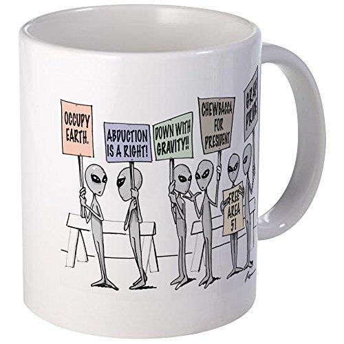 CafePress Alien Protestors Mugs Unique Coffee Mug, Coffee Cup