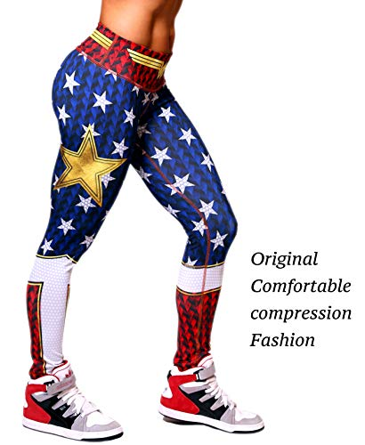 Active4U Superhero Crossfit Leggings Women Colombian Yoga Pants Compression Tights (Large-XL, Wonder Women) ()
