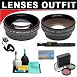2x Digital Telephoto Professional Series Lens + 0.5x Digital Wide Angle Macro Professional Series Lens + 3 Piece Filter Kit + 6-Piece Deluxe Cleaning Kit + Lenspen + Lens Cap Keeper + DB ROTH Micro Fiber ClothFor The JVC Everio GZ-MC100, MC200, MC500 Microdrive Camcorders