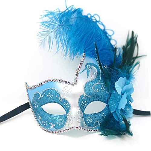 Storm Buy] Women Lady Girls Costume Venetian mask Feather Masquerade Mask Halloween Mardi Gras Cosplay Party Masque (Sky Blue)]()
